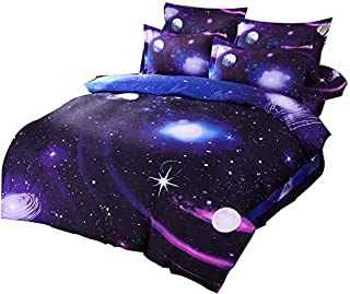 Cliab 5-Piece Reversible Kids Galaxy Duvet Cover Set with Earth and Planets Print in Solar System Bedding Set for Boys and Girls Astronomy Themed Stars in Outer Space Bedding Twin Size