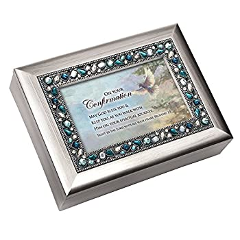 Cottage Garden On Your Confirmation May God Bless Brushed Silvertone Jewelry Music Box Plays On Eagle s Wings