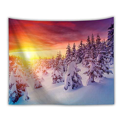 DROMEZ Invierno Tapiz de Pared,Mural Puesta De Sol Paisaje De Nieve Naturaleza Montañas Fotomural Decorativo,Tapestry Decoración de Pared para Dormitorio Sala de Estar,B,200 * 150CM