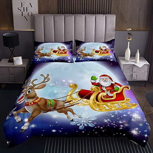 Tbrand Kids Cartoon Santa Claus Coverlet Set for Children Boys Girls Cute Christmas Deer Bedspread Xmas Purple Galaxy Quilted Coverlet Winter Snowflake Bedding Collection Room Decor Single Size