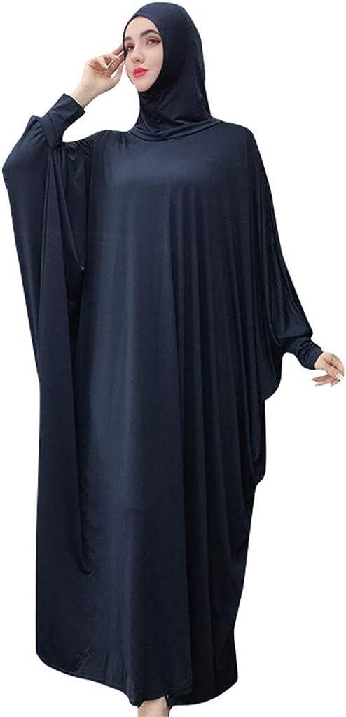 Loveso Muslim Women's Solid Color Headdress Mosque Prayer Loose Cardigan Ramadan Dress