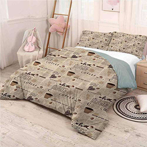 Modern Bedding 3-Piece Full Bed Sheets Set, Ultra Soft Microfiber Bedding Coffee Cups Writing Ultra-Soft - Full 80'x90'