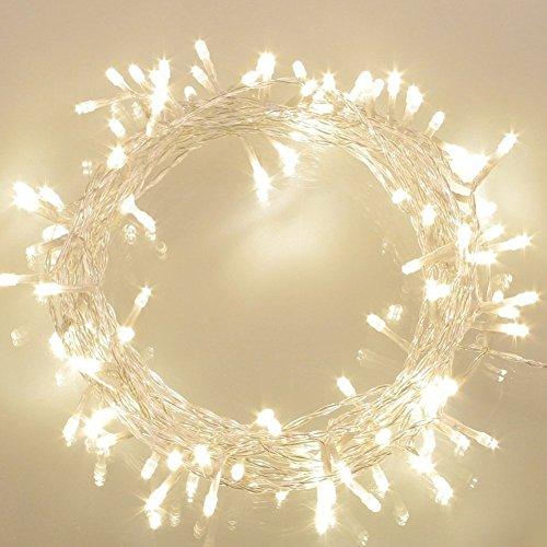 100er LED Outdoor Lichterkette Batterienbetrieben mit Timer Warmweiß deal für CHRISTMAS, Festlich, Hochzeiten, Geburtstag, PARTY, NEW YEAR Dekoration, HÄUSER ETC (8 Modi, Außenbeleuchtung)