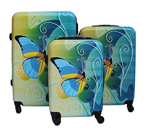 R.Leone Valigia da 1 pezzo Fino a Set 3 Trolley Rigido grande, medio e bagaglio a mano 4 ruote in Policarbonato Farfalla blu (Set 3 S M L)