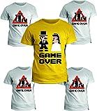 fashwork Pacchetto T-Shirt Addio al Celibato - Game Over - Magliette Simpatiche e Divertenti