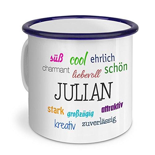 printplanet Emaille-Tasse mit Namen Julian - Metallbecher mit Design Positive Eigenschaften - Nostalgie-Becher, Camping-Tasse, Blechtasse, Blau
