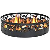 Sunnydaze Running Horse Fire Pit - 36 Inch Wood Burning Campfire Ring - Large Round Outdoor Fireplace - Heavy-Duty 0.91mm Thick Metal Firepit - High Temperature Paint