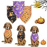 3 Packs Dog Bandanas,Halloween Bandana,Dog Bibs Halloween,Dog Halloween Costumes,Large Dog Bandana,Pet Neckerchief Washable,Pumpkin,Ghost, Witch Pattern,Dog and Cat Halloween Bandana