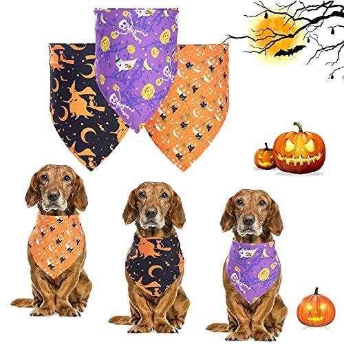 3 Stück Hunde Bandana,Hundehalstuch große Hunde,Hunde Halloween Bandana,Waschbarer Hund Lätzchen,Katzen und Hunde Halloween Party Halloween,für Halloween Haustier Kostüm Zubehör Dekoration