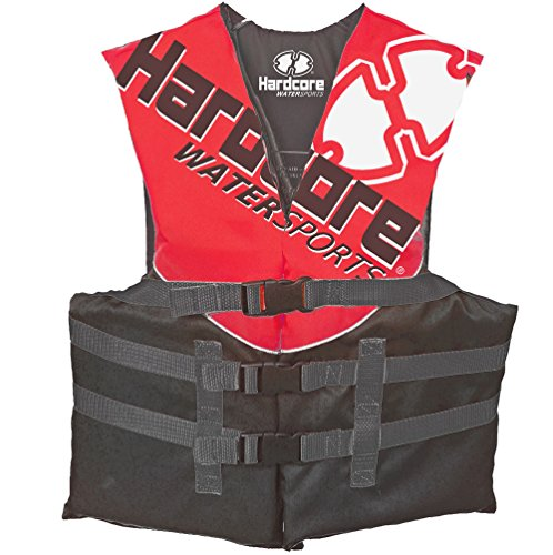 Hardcore Water Sports Youth Life Jacket Vest for 50-90 lbs. | US Coast Guard Approved Type III (Red)