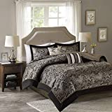 Comfort Spaces Queen Comforter Set - 5-Piece - Charlize Jacquard Comforter Set - Soft Blue and Taupe - Full/Queen Size