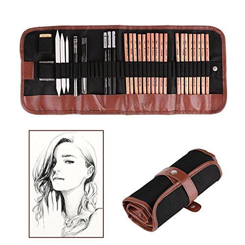 Lápices de Dibujo 1Set Profesional Bosquejos con Borrador Crayones Papel y Cuchillo de corte para principiantes Esbozar dibujo Pintura arte Plumas en lápiz(paquete de 18pcs)
