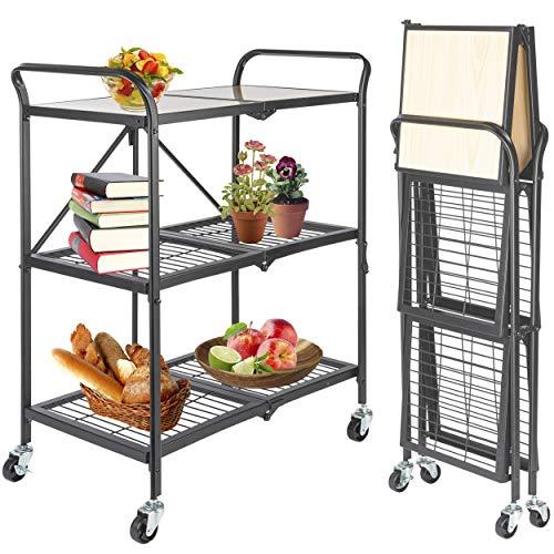 ONVAYA® Küchenwagen klappbar | Servierwagen klappbar | Etagenwagen | Beistellwagen | Grau | Küchenregal | Multifunktionale Regal| Haushaltsregal | Stand Regal