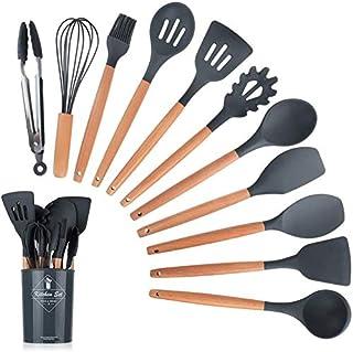 مجموعة ادوات مطبخ من 12 قطعة مصنوعة من السيليكون بمقابض خشبية مقاومة للحرارة غير لاصقة لاواني الطبخ (اسود)