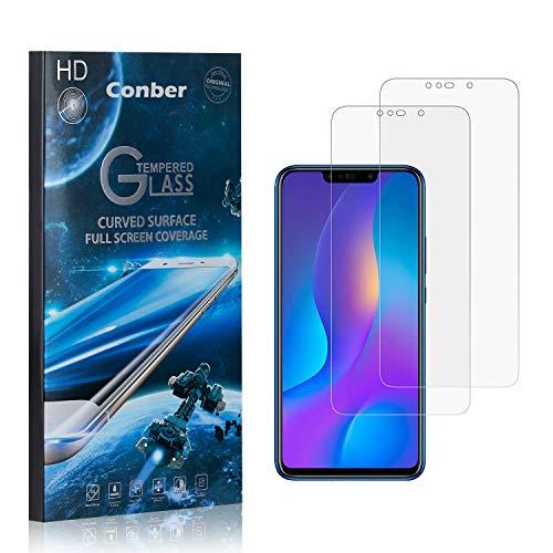 [2 Stück] Conber Panzerglas Schutzfolie für Huawei P Smart Plus 2018, [9H Härte][Anti-Kratzen][Anti-Öl][Anti-Bläschen] Panzerglasfolie Displayschutz für Huawei P Smart Plus 2018