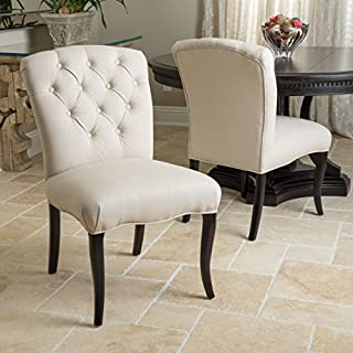 Christopher Knight Home Hallie Dining Chair (Set of 2), Linen with Scroll Pattern