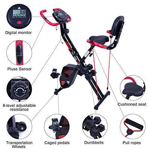 EVOLAND Cyclette da Allenamento, Home Trainer Bicicletta da Fitness S-Bike Cyclette Macchine per Training Aerobico Fitness e X-Bike, 120 kg capacità