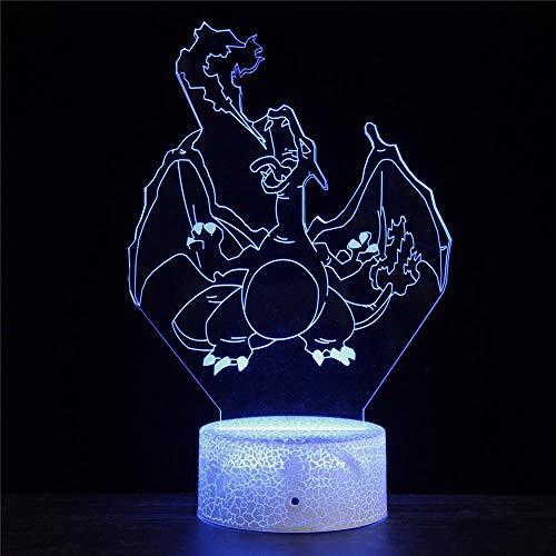 Pokemon Charizard 3D Ilusión Lámpara 3D Luz nocturna 3D 16 cambio de color lámpara decoración lámpara con control remoto para sala de estar, cama, bar, mejor regalo juguetes