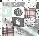 Patchwork, Rosa, Mint, Grau, Wholecloth Stoffe -