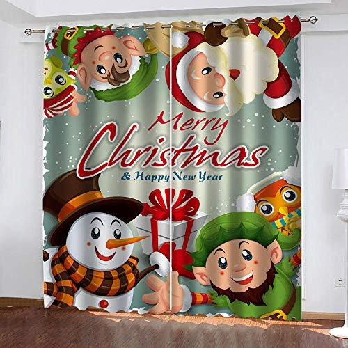 bdbdff Cortinas Opacas 3D Navidad,Adecuado para Dormitorio Sala De Estar Habitación Infantil Cortinas Opacas 2...