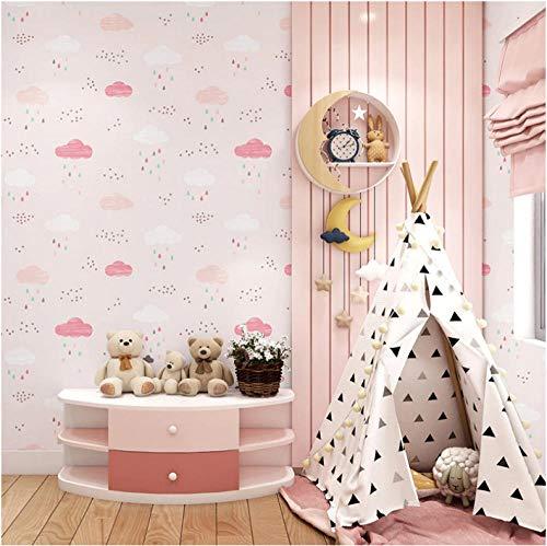 Behang Kinderkamer Slaapkamer Behang Jongen Prinses Kamer Cartoon Heerlijk Roze Blauw Niet-Geweven Blauw Sky White Cloud Rain Wallpaper Roll-1