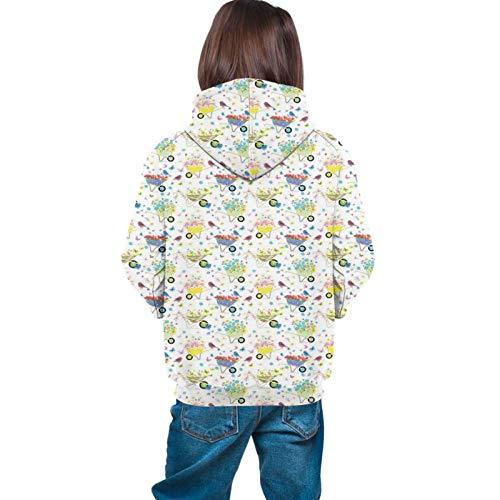 Teen Hoodies Fashion Sweatshirts,Rainbow Striped and Checkered Pattern Wheelbarrows Full of Wild Flowers and Birds XL
