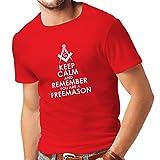 lepni.me Camisetas Hombre Recuerda Que Eres un Freemason Cuadrado y brújula Logotipo masónico (XX-Large Rojo Blanco)