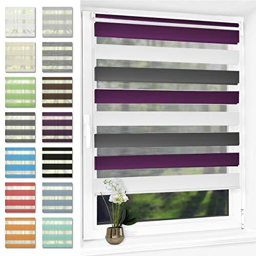 Doppelrollo klemmfix Duo Rollo ohne Bohren,Rollos für Fenster und Tür,lichtdurchlässig und verdunkelnd 90 x 150 cm(BxH) Weiß-Grau-Lila