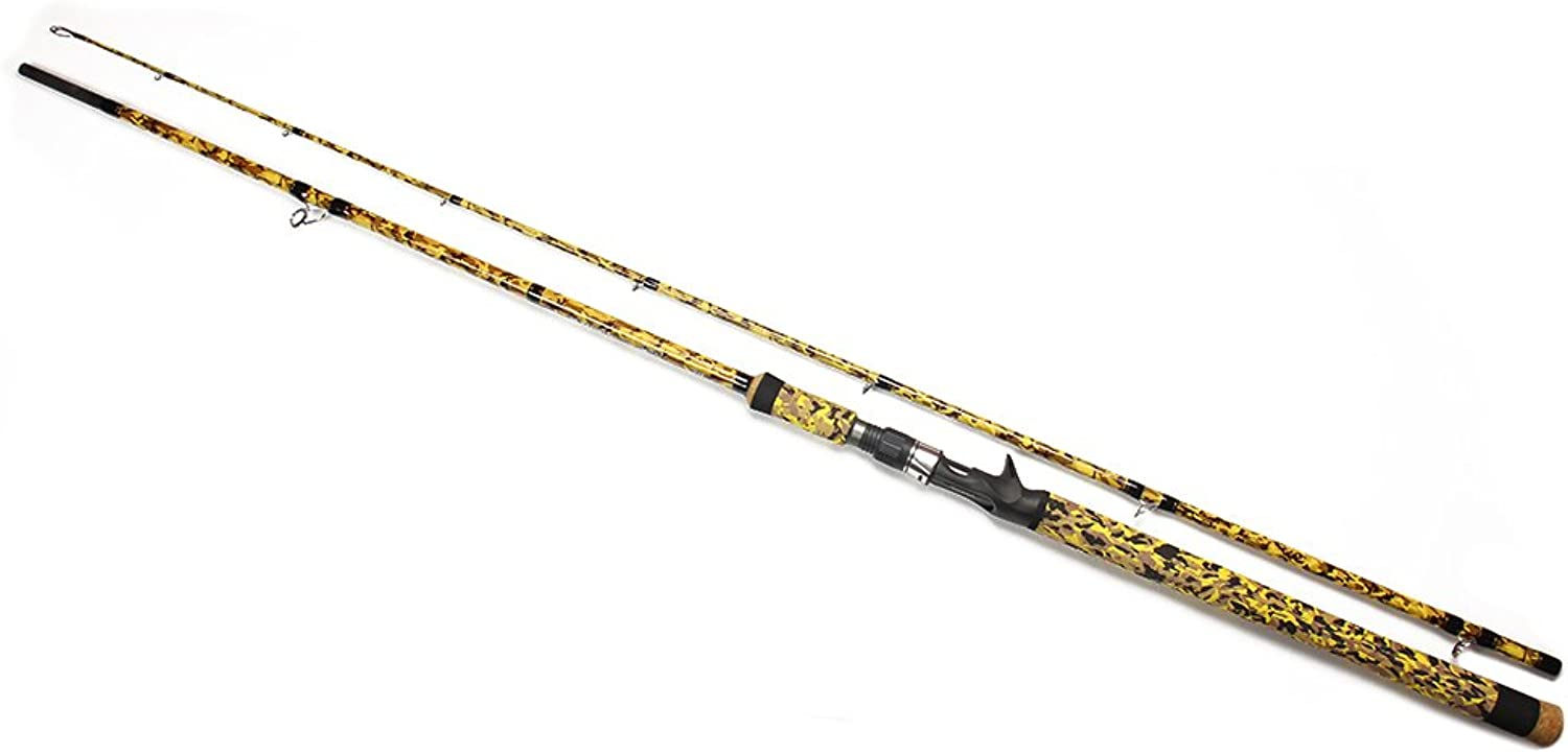 Casting Baitcasting Carbon Fiber Fishing Rod 2 Pieces Portable Outdoor Lure Fishing Rod 76yellow
