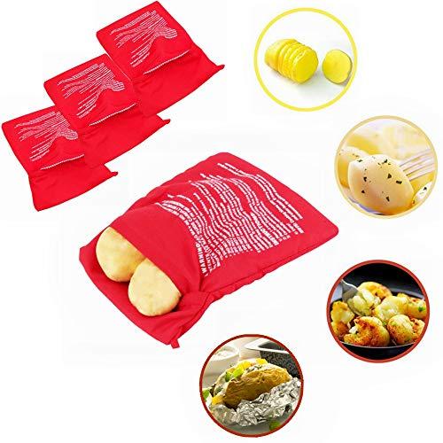 Kiwochy 4er Pack Mikrowelle Beutel Kochtasche Wiederverwendbar Mikrowellen Kartoffelbeutel Express Tasche Perfekte Kartoffel Tortillas Maiskolben Express Backen Werkzeug10.63 * 7.3