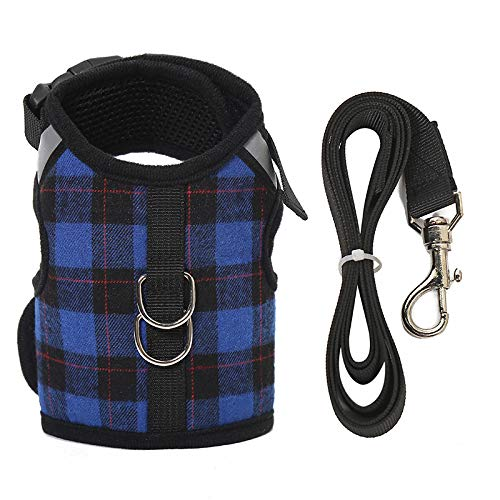 Escape Proof Cat Harness with Leash - Adjustable Soft Mesh - Best for Walking (M, Blue Plaid)