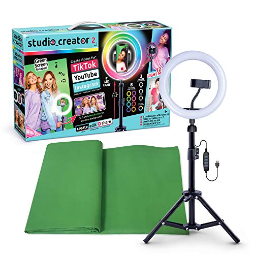 Canal Toys New So DIY TikTok Instagram YouTube Multicolored Ring Light with Green Screen and Phone Mount Tripod. Studio Creator 2 Influencer Video Creator Kit