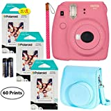 Fujifilm Instax Mini 9 Instant Camera (Flamingo Pink), 6 Single Pack Instant Film (60 Sheets), and Instax (Light Blue) Groovy Case Bundle