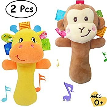 Cartoon Stuffed Animal Baby Soft Plush Hand Rattle Toys Infant Dolls - Giraffe and Monkey