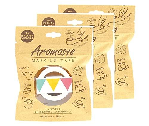 【まとめ買い】アロマステ マスキングテープ 虫が好まないシトロネラの香り AOZ-1-05 ガーランド ×3個