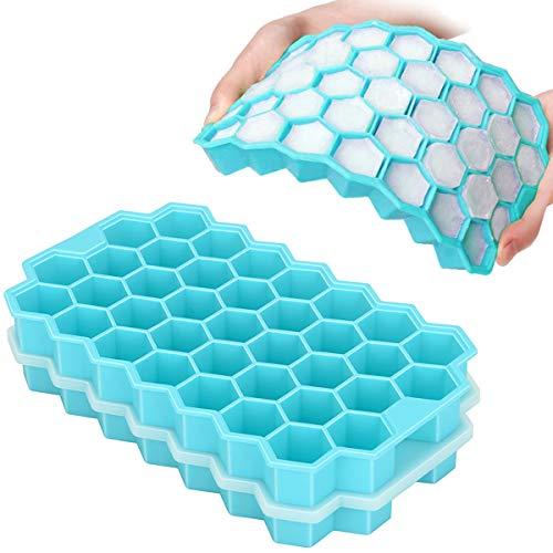 TeaRoo Eiswürfelform aus Silikon, 2er Pack 37-Fach Eiswuerfel Form, Stapelbar Eiswürfelbehälter Mit Deckel, Gekühlte Getränke, Whisky und Cocktails, LFGB Zertifiziert und BPA Frei