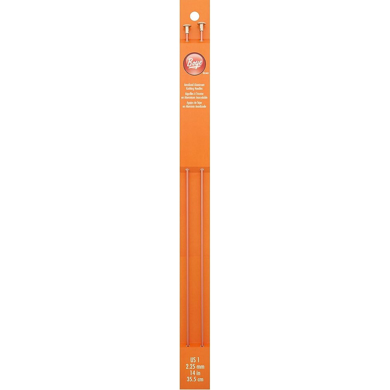 Boye 14-Inch Aluminum Single Point Knitting Needles, Size 1
