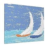 M-shop Leinwandbild, 40,6 x 50,8 cm, Segelboot, nautisches Dekor, Grunge-Stil, Illustration von zwei Rennsegelbooten in einem windigen Ozean, hellblau, Panorama-Wandbild