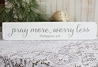 CELYCASY Pray More Worry Less Wood Sign Worn Finish Inspirational Scripture Verse Philippians 4:8