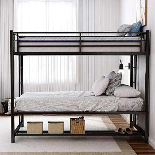 LoLado Twin Over Twin Bunk Beds with Under Bed Shelf,2 Ladders for Bedroom Dorm,No Box Spring Needed (Black)