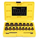 """Topec 18-Piece Stripped Nut Remover, 3/8"""" Drive Impact Extractor Set, Damaged Bolt Nut Remover with Hex Adapter, Perfect Tool Kit for Removing Stripped, Damaged, Rounded off and Rusted Bolts & Nuts"""