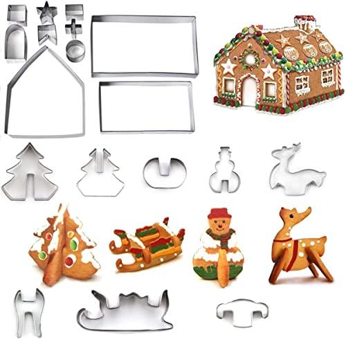 Christmas formine per biscotti 3D, Gingerbread House di Natale, 18pcs stampini per biscotti Inossidabile Cookie Cutters Set, DIY Bambini Omino di Marzapane Stampo Da Cucina Accessori Torte Decorazione