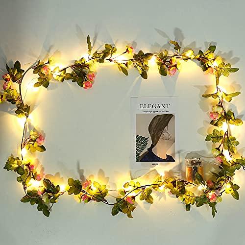 Lpraer Ghirlanda di 20 luci a LED a forma di fiore, 2,2 m, funzionamento a batteria, in rame, per matrimoni, compleanni, casa, San Valentino, Natale