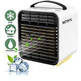 Air Conditioner Fan, Personal Space Air Cooler Desktop Fan Mini Air Circulator Purifier Cooler with Portable Handle and Night Light for Home Room Office Outdoors(White)
