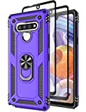 Sunbrightful for LG Stylo 6 Case, LG Stylo 6 Phone Case, Drop Protection Defender Magnetic Car Mount Rotating Ring Kickstand Case with [ 2 PCS Tempered Glass Screen Protectors ] for LG Stylo 6 - Purple