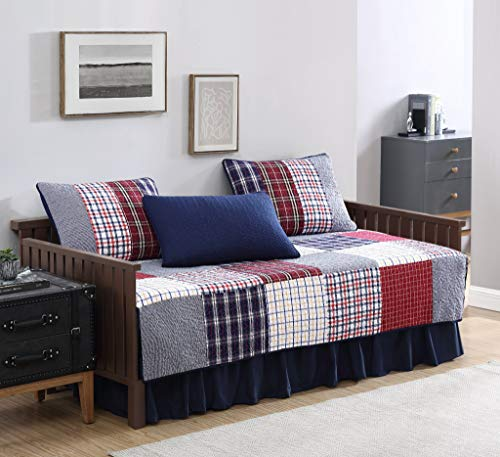 Grizzly 5-Piece Plaid Checkered Patchwork Quilted 100% Washed Cotton Reversible Quilt Set, Daybed Size