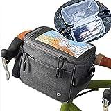 Asvert Bolsa Bici Manillar Ajustable de Bicicleta con Pantalla Transparente para Móvil o Tableta mapas y GPS,Tambien es un Bolso Bandolera,Dos en uno (Mantener Caliente Gris)