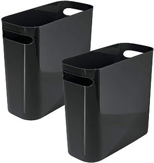 mDesign Slim Plastic Rectangular Small Trash Can Wastebasket, Garbage Container Bin Handles Bathroom, Kitchen, Home Offic...