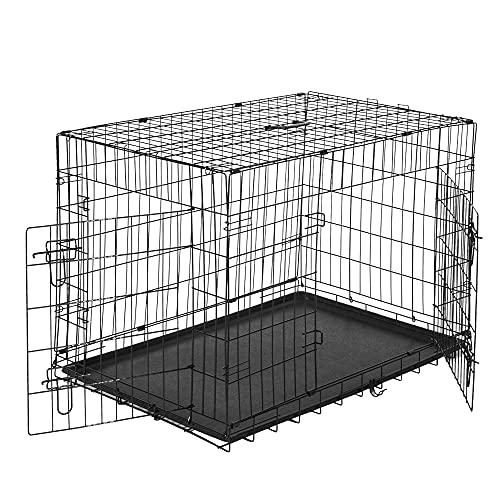 PawHut Transportín de Perro de 2 Puertas Jaula de Alambre para Perros Plegable con Asa Acero 122x77x82cm Negro