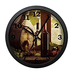 Ja Yhou dontcy Black Vintage Wall Clock Silent Non Ticking - Wine and Wine Barrels on windowsill 10 Inch Quality Quartz Battery Operated Personality Fashion Round Home/Office/Classroom/School Clock